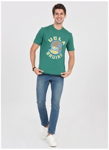 UCLA Ucla Galt Yeşil Bisiklet Yaka Dijital Baskı Erkek T-Shirt Yeşil